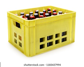 Yellow beer crate with bottles on white, contains clipping path