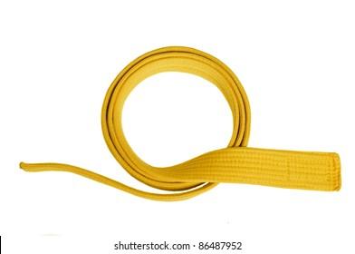 Yellow belt isolated white background