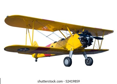 A yellow bi plane isolated on white