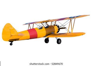 An yellow bi plane isolated on white