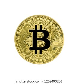 Yellow bitcoin coin with a black cryptocurrency symbol. Flat Lay. Top View. Isolate on white background.