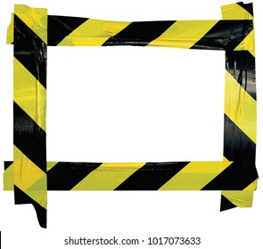 Yellow Black Caution Warning Tape Notice Sign Frame Horizontal Adhesive Sticker Background Diagonal Hazard Stripes Signal Safety Attention Concept Isolated Large Closeup Old Aged Grunge Pattern