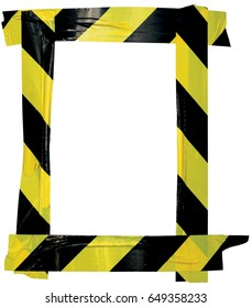 Yellow Black Caution Warning Tape Notice Sign Frame Vertical Adhesive Sticker Background Diagonal Hazard Stripes Signal Safety Attention Concept Isolated Large Closeup Old Aged Grunge Pattern