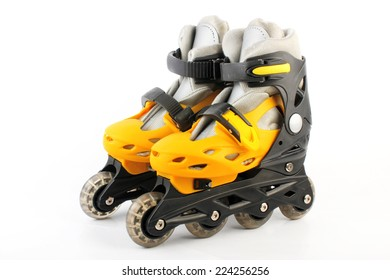 Yellow & Black Colored roller skates isolated on white