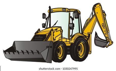 yellow and black excavator