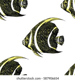 Yellow and black fishes on a white background. Ocean inhabitants. Seamless texture. It can be used for textile, cloth, fabric, tile, backgrounds, wallpapers, covers, wrapping or your design.