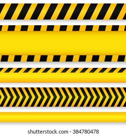 Yellow with black police line and danger tapes.