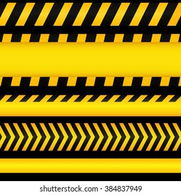 Yellow with black police line and danger tapes on dark background.