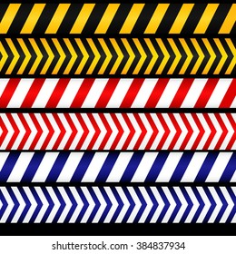 Yellow with black, red with white and blue with white police line, security warning, danger tapes. For web, criminal and law design.