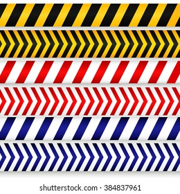 Yellow with black, red with white and blue with white police line, security warning, danger tapes set. For web, criminal and law design.