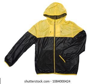 yellow and black windbreaker rain proof  hoodie shiny jacket full zip