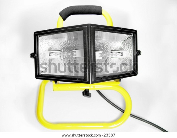 Yellow and black work light isolated on white background