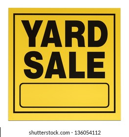 Yellow and black yard sale sign with copy space isolated on a white background.