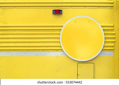 Yellow Blank Colorful Sign on Side of Vintage Bus