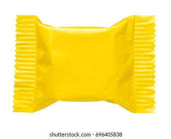 Yellow blank sealed plastic foil pouch food bag snack packaging isolated on white background flat top view