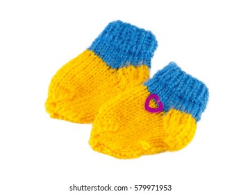 Yellow and Blue baby bootees for little babi beautiful gift, knitted socks for child