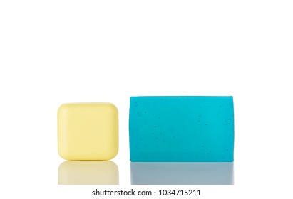 Yellow and Blue Bar of Natural Soaps Isolated on a White Background