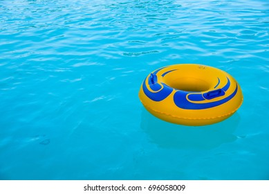 Yellow blue inflatable ring