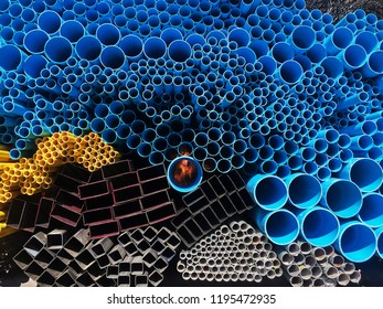 Yellow and Blue PVC(Polyvinyl Chloride) with metal pipe