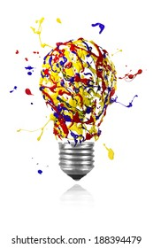 Yellow blue red paint splash made conceptual light bulb