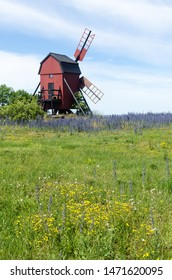 Yellow and blue summer flowers by an old traditional windmill by Aleklinta at the swedish island Oland