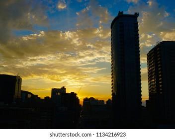 Yellow and Blue Sunset Skyline
