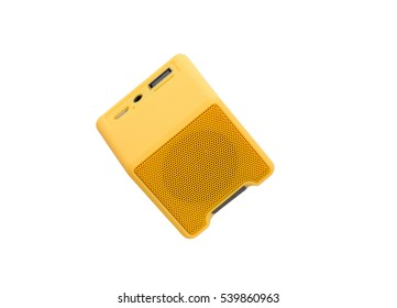 Yellow Bluetooth speaker isolated on white background.