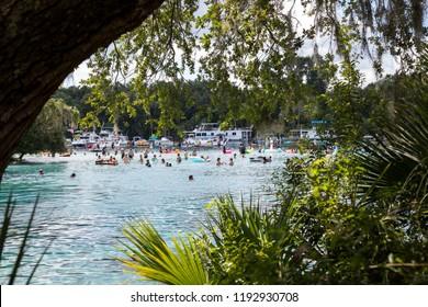 Yellow Bluff, FL / USA - August 19, 2018: Enjoying a beautiful day at Silver Glen Springs.