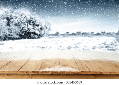 yellow board of wood snow and trees landscape