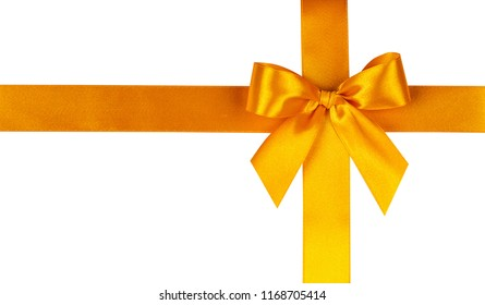 Yellow bow, ribbon. Isolated on white background.