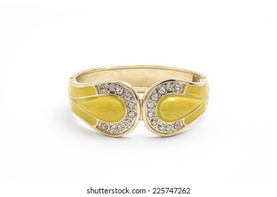 yellow bracelet with diamonds on a white background