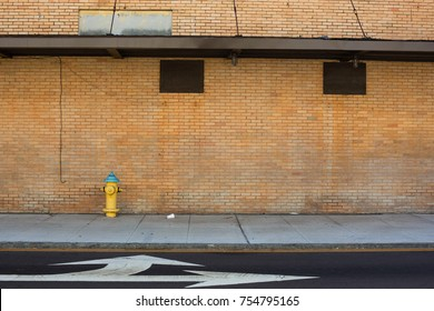 yellow brick old commercial exterior background