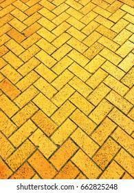 Yellow brick road;  background of yellow brick path