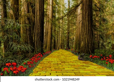 Yellow brick road leading through a forest.