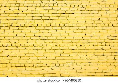 Yellow brick wall.