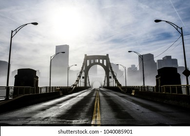 Yellow Bridge in Fog