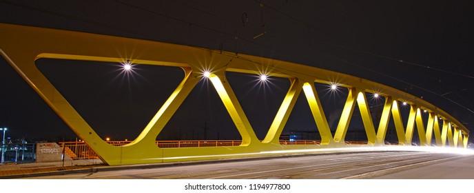 Yellow Bridge at night in Mannheim-Neckarau, Germany