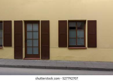 Yellow brown building facade