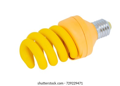 A yellow bug zapping energy efficient light bulb isolated on white