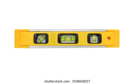 Yellow building level on white isolated background is used in construction