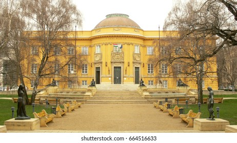 Yellow building of the Déri Museum in Debrecen, Hungary