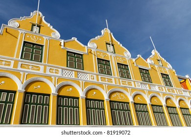 Yellow building in the old town in Willemstad, Curacao
