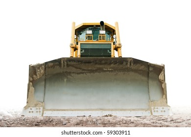 yellow bulldozer isolated on pure white
