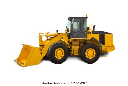 Yellow bulldozer over white background. Heavy machinery.