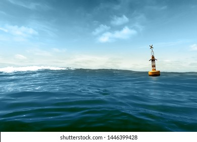 A yellow buoy drifts in the swell against a blue sky
