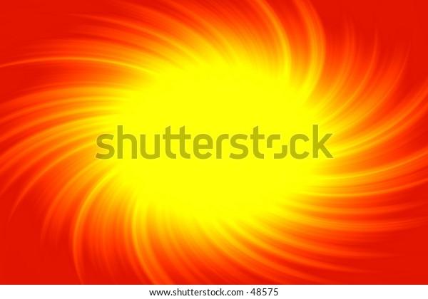 Yellow burst on red.