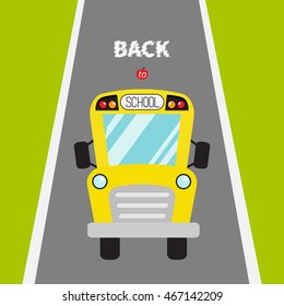Yellow bus. Green grass and road. Transportation. Full face view. Back to school. Greeting card. Flat design. Cute background