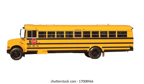 Yellow bus isolated on white
