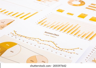 yellow business charts, graphs, reports and summarizing background,  management and project for business concepts
