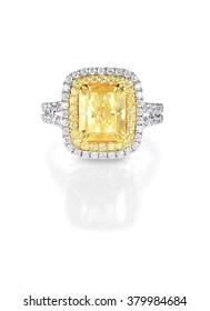 Yellow Canary Diamond Large Engagment Ring in Halo Setting, emerald cushion cut stone with a double halo of diamonds on the side